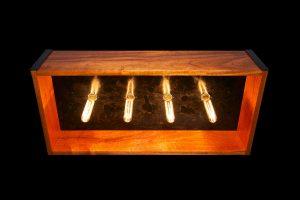 Black Patina Steel and Mahogany Lightbox Chandelier