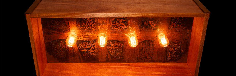 Brown Patina Steel & Mahogany Lightbox Chandelier