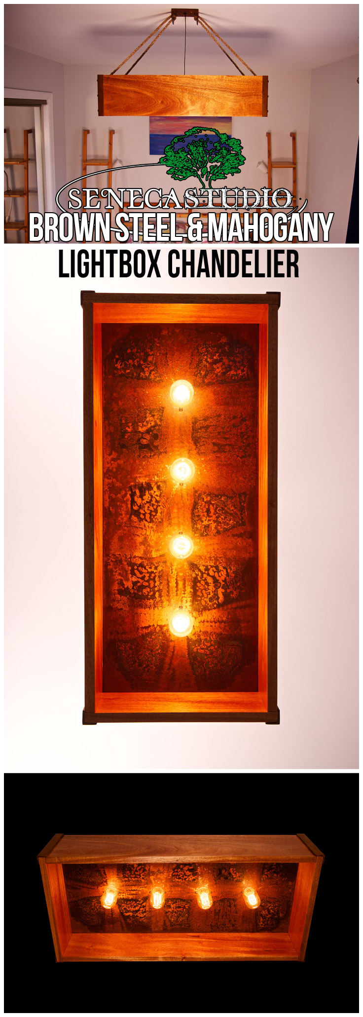 Brown Patina Steel and Mahogany Lightbox Chandelier
