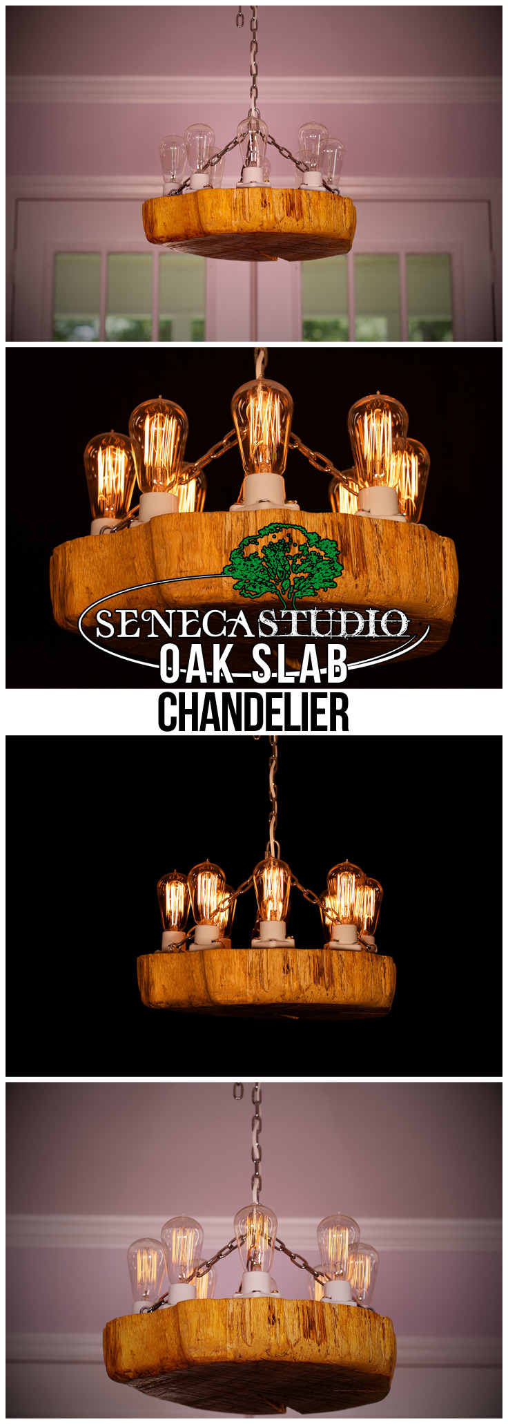 Oak Slab Chandelier