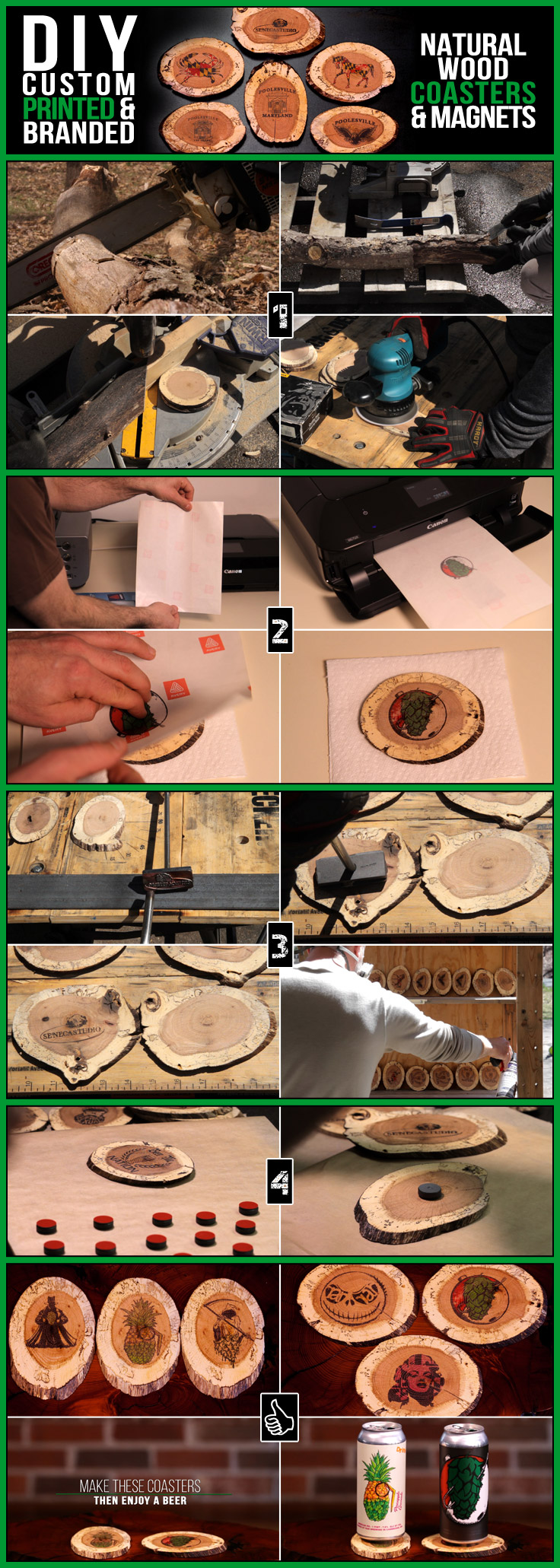 DIY custom print & brand these natural wood coasters & magnets with a home printer & basic tools using a sustainably harvested tree limb/log. This simple wood working project can easily be made at home and makes for a great, customized DIY gift!