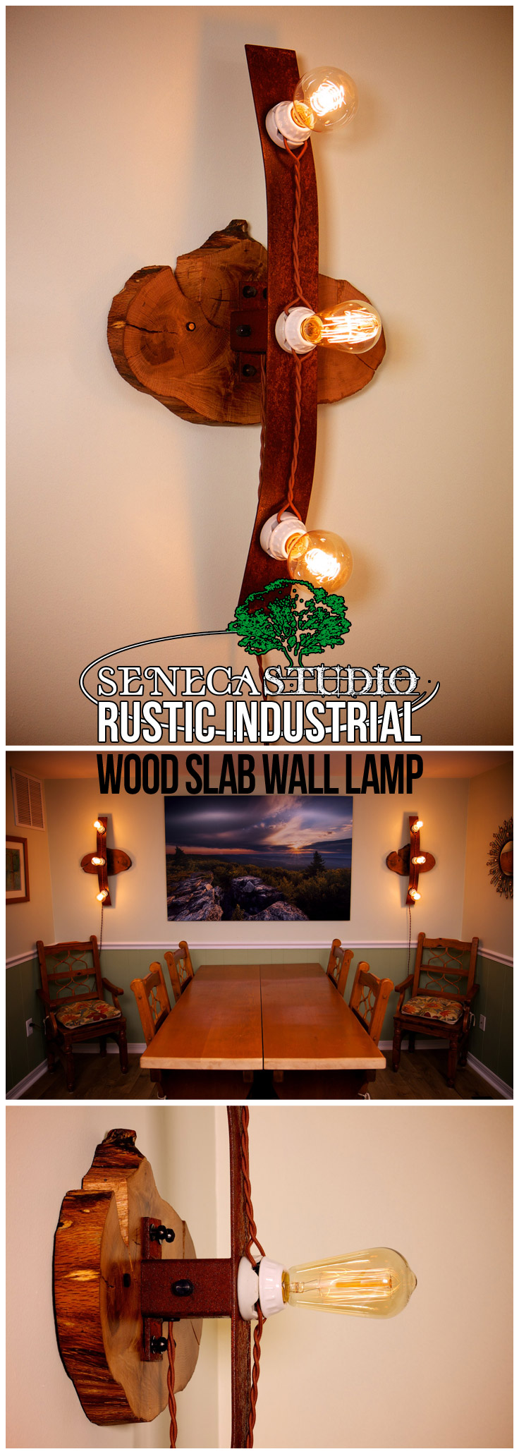 Rustic Industrial Wood Slab Wall Lamp