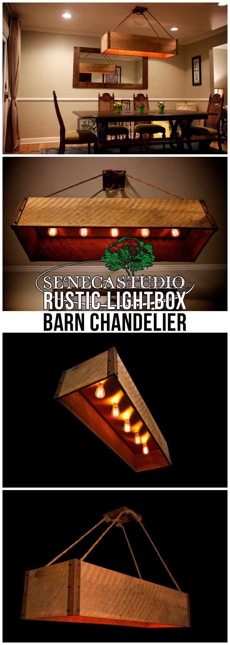 Rustic Lightbox Barn Chandelier