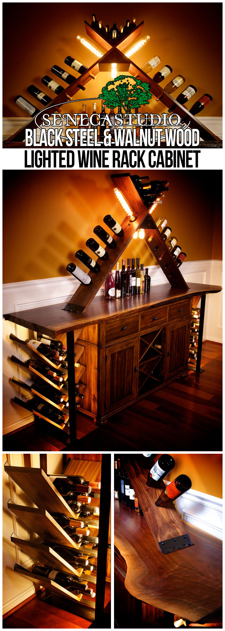 Black Steel and Walnut Wood Lighted Wine Rack Cabinet