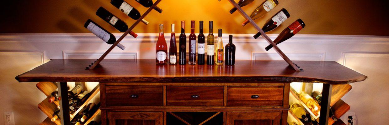 Black Steel & Walnut Wood Lighted Wine Rack Cabinet
