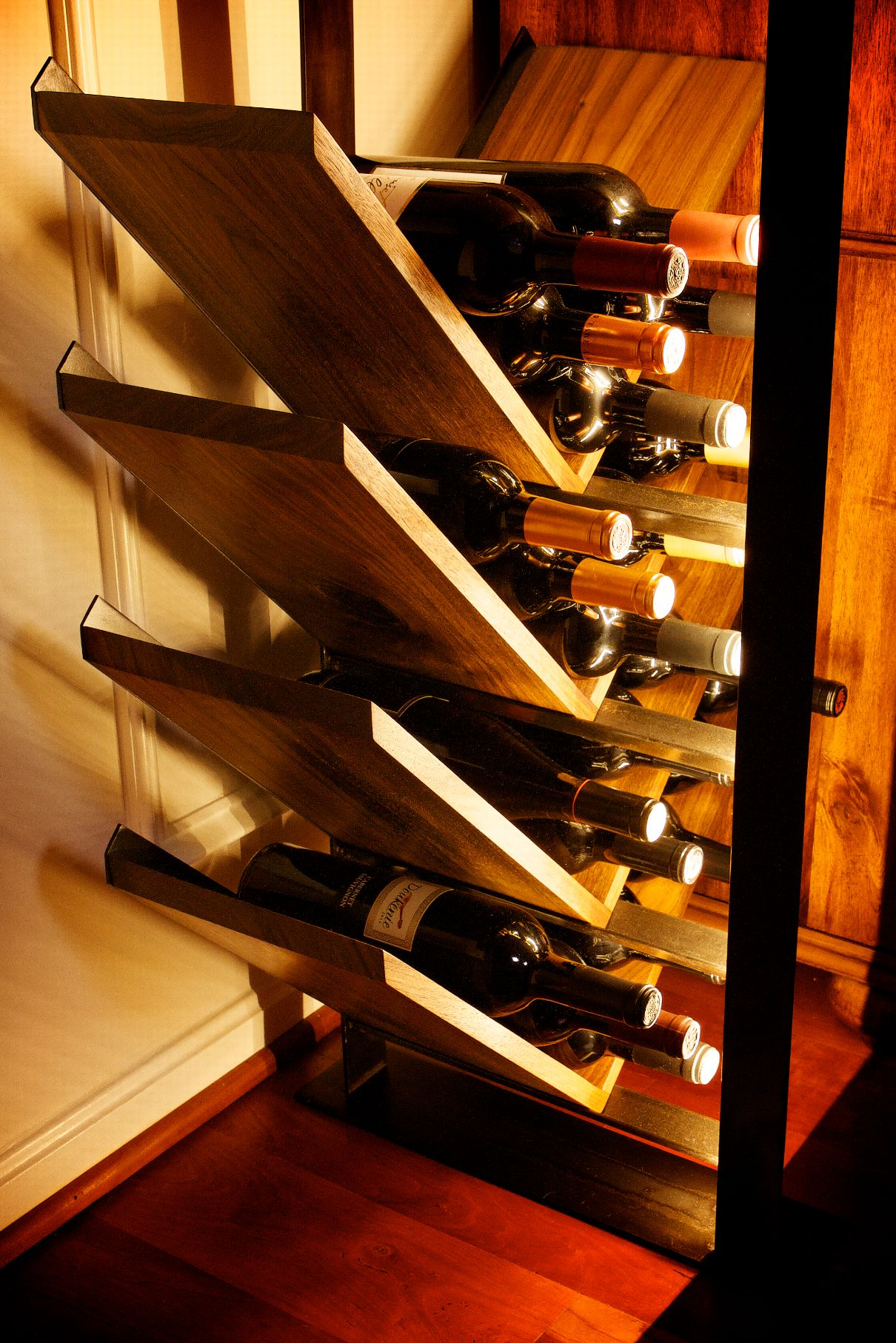 Seneca Studio Black Steel Amp Walnut Wood Lighted Wine